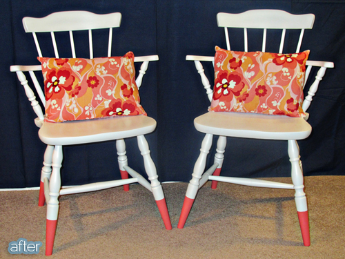 country chair makeover after coral
