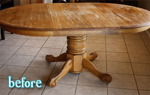 Lisa 39 s pottery barn table better after - Kitchen table redo ...