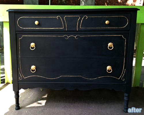 black and gold dresser after