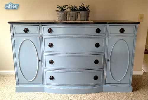 Buffet makeover ideas - chalk paint AND chalkboard paint!  Featured on BetterAfter.net