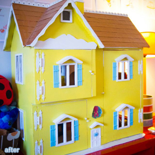 yellow painted dollhouse makeover