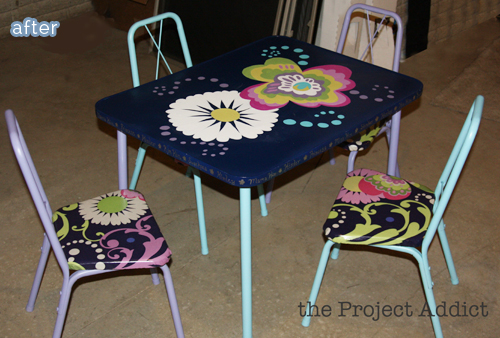 kid table set flowered makeover