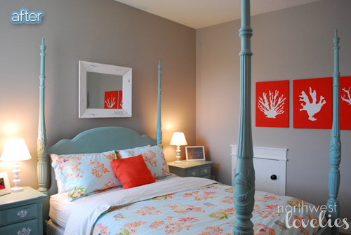 Turquoise And Coral Guestroom Makeover, Only The Furniture Color Has  Changed! Major Difference!