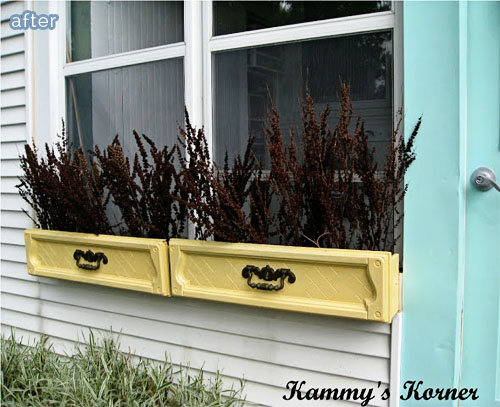 Dresser drawers turned into window boxes!  Genius.  Featured on BetterAfter.net