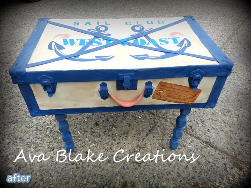 nautical trunk makeover after