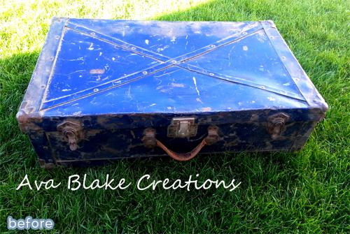 nautical trunk makeover