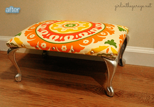 ottoman makeover with nailheads