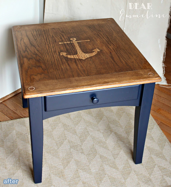 stained anchor table