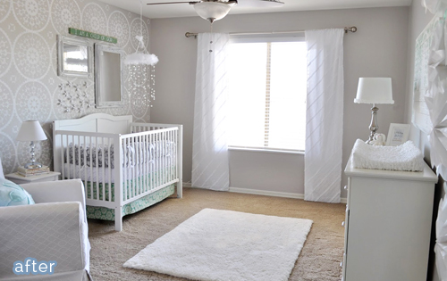 Beautiful baby girl nursery.   featured on betterafter.net