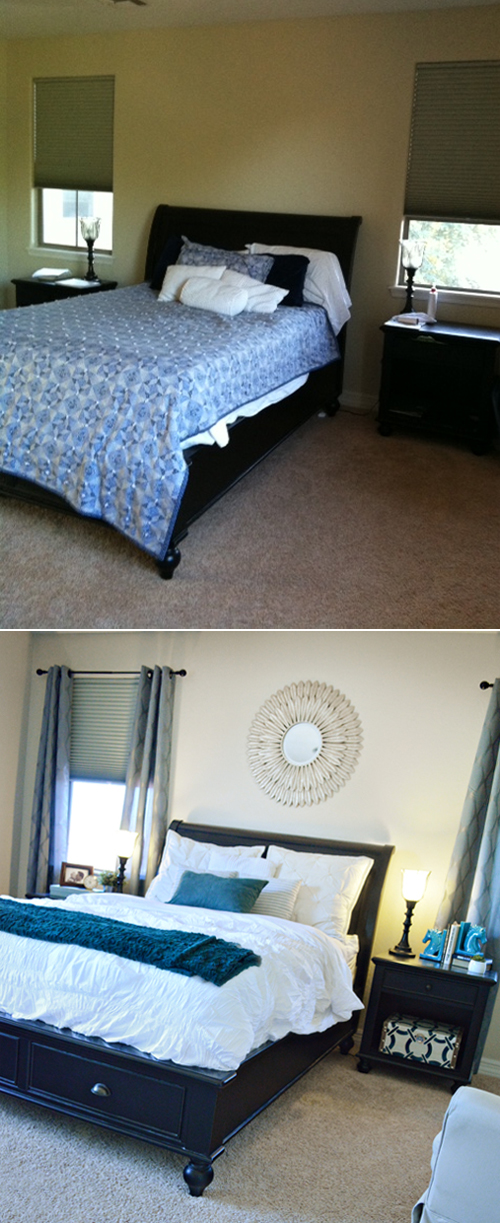Bland to glam! Bedroom makeover with easy accessorizing!   from BetterAfter.net