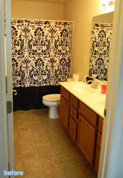 Cute Bathroom Makeover With Double Striped Curtains! Featured On  BetterAfter.net
