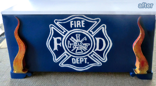 Firefighter themed toybox makeover!   featured on betterafter.net