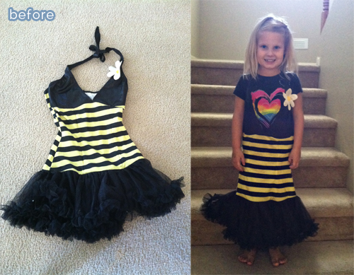 Halloween refashions on betterafter.net.  From adult-sized bumblebee to child-friendly!
