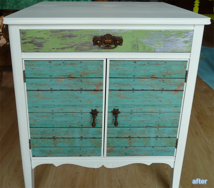 Old record player into beautiful nightstand with decoupage!  ~ from BetterAfter.net ~