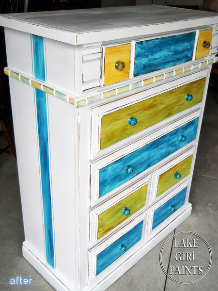 Old dresser gets a colorful makeover!  betterafter.net