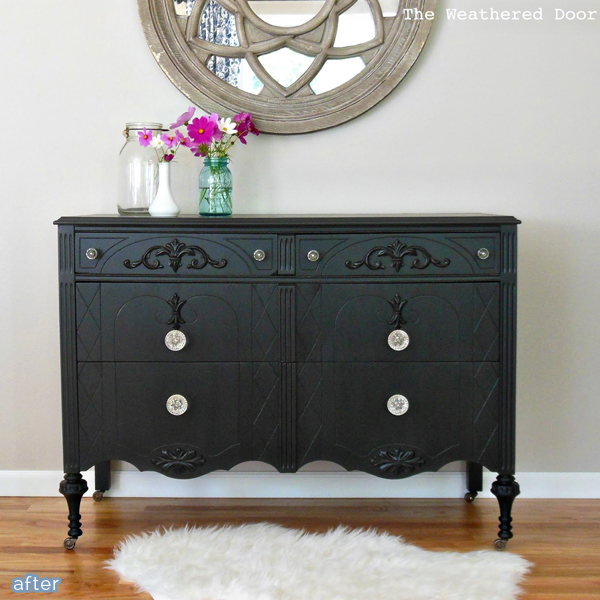 Glamourous makeover of a vintage dresser! betterafter.net