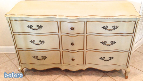 Drab dresser gets a beautiful blue makeover.  betterafter.net