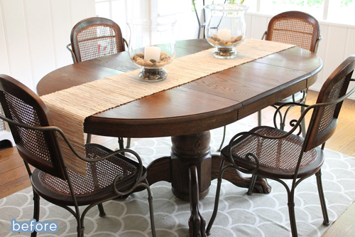 Simple change makes a big impact on this table makeover.  betterafter.net