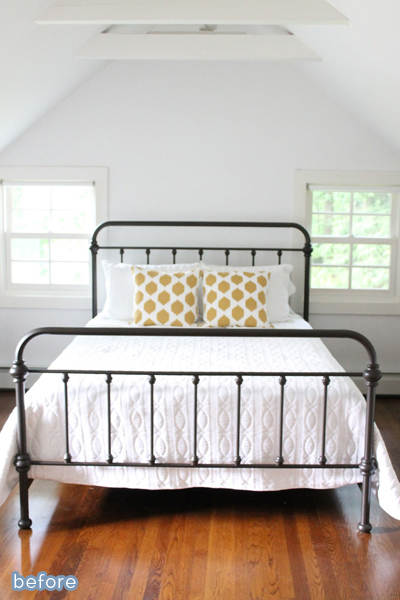 Simple and serene guest room makeover.  betterafter.net