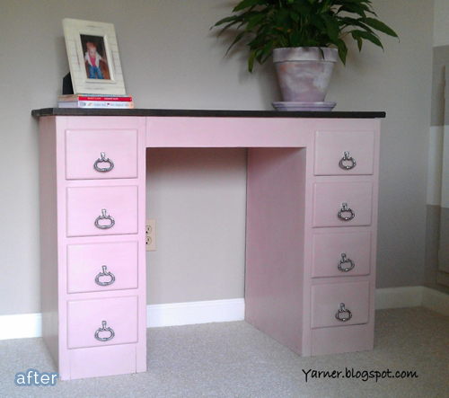 Adorable desk makeover for a little girl.  betterafter.net