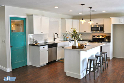 Kitchen flip with aqua pantry door from Rafterhouse on betterafter.net