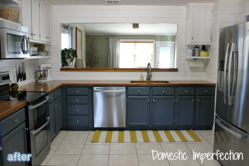 Fabulous Kitchen Makeover With Blue Painted Cabinets And Butcherblock Counters Betterafter