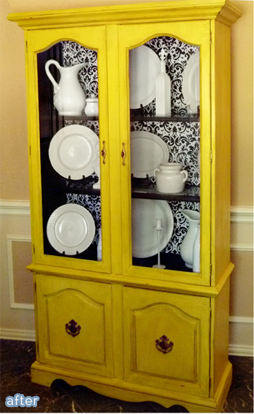 Happy yellow hutch makeover. betterafter.net