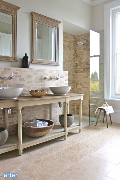 Gorgeous stone bathroom makeover.  betterafter.net