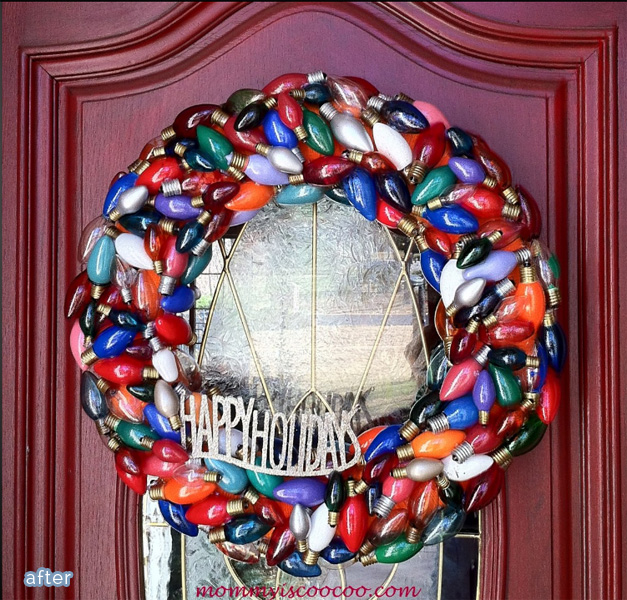 Christmas wreath made from burned out bulbs, cute!  betterafter.net