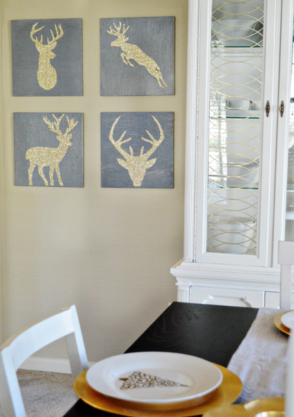 gold glitter deer head silhouette art on betterafter.net