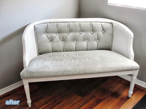 Gray settee makeover on betterafter.net