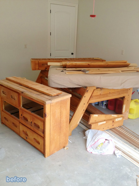 Bunkbeds salvaged with stain!  betterafter.net
