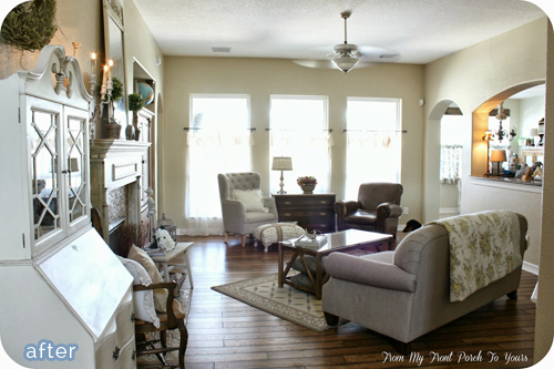 Creamy neutral living room makeover on betterafter.net