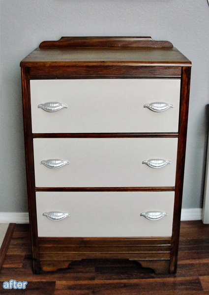 Gray and stained dresser makeover on betterafter.net