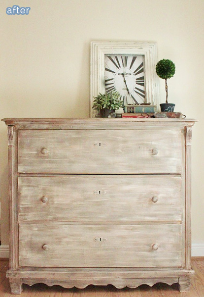 white washed dresser treatment on betterafter.net