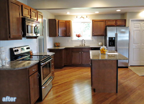 Warm wood kitchen makeover on betterafter.net