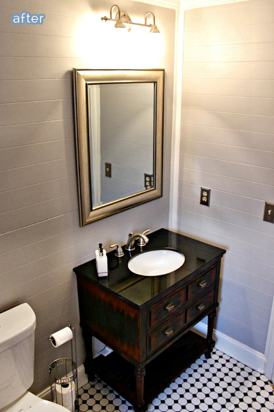 Check out this black and white beauty of a bathroom at betterafter.net