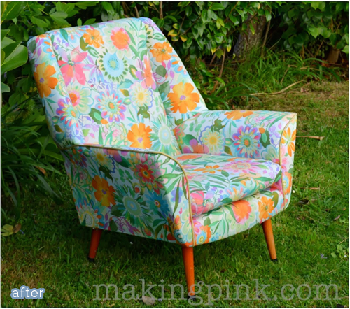 A bright and vibrant flowered upholstered chair at betterafter.net