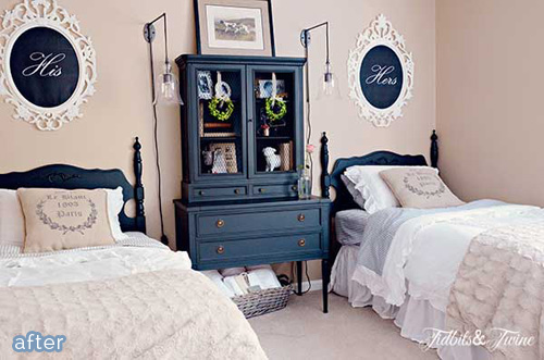 "A gorgeous cream ""His and Her"" guest bedroom makeover at betterafter.net"
