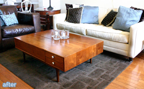 A beautiful mid-century coffee table makeover at betterafter.net