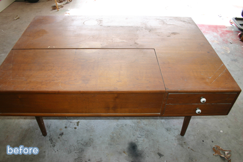 A beautiful mid century coffee table makeover at betterafter.net