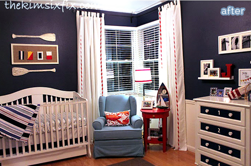 A fun red, white, and blue nautical nursery makeover at betterafter.net