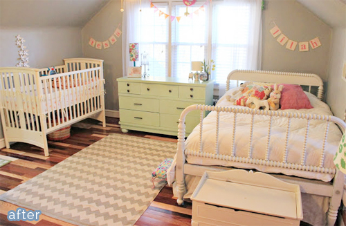An adorable girl bedroom/nursery makeover at betterafter.net