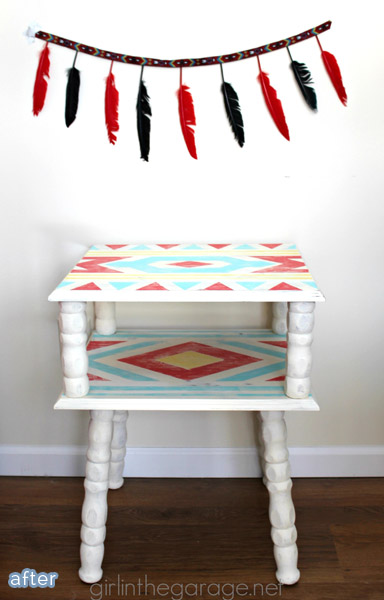red_aqua_yellow_table_makeover
