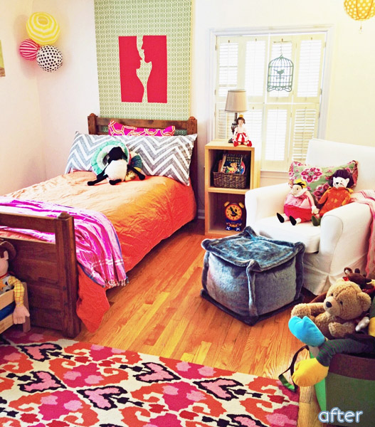 What a colorful transformation of this little girl bedroom at betterafter.net