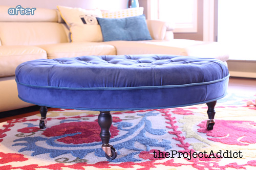 Diamond tufted ottoman from a coffee table!  on betterafter.net