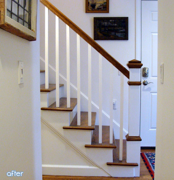 A beautiful staircase entryway makeover at betterafter.net