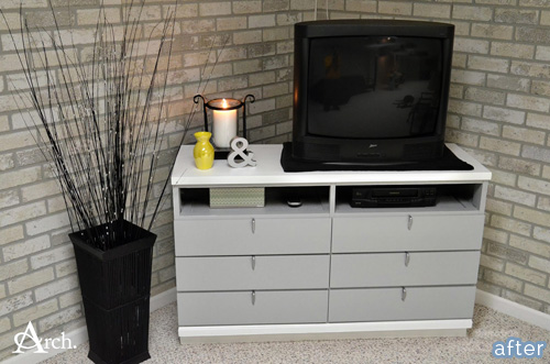 See this classic gray and white TV stand at betterafter.net