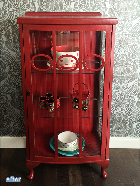 Cute red display cabinet makeover on betterafter.net