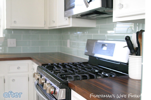 A beautiful kitchen makeover with a pop of aqua at betterafter.net